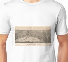 Vintage Pictorial Map of Evansville Indiana (1880) Unisex T-Shirt