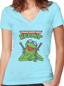 Teenage Muppet Ninja Kermit Women's Fitted V-Neck T-Shirt