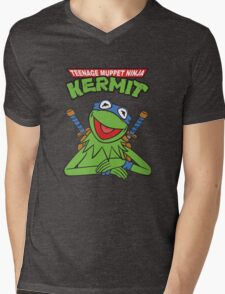 Teenage Muppet Ninja Kermit Mens V-Neck T-Shirt