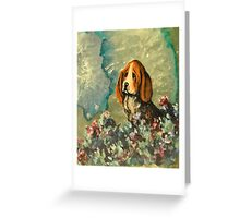 Basset Hound in Flowers Greeting Card