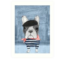 French Bulldog in front of Arc de Triomphe. Art Print