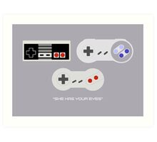 NES 2 Controller - Has Your Eyes Art Print
