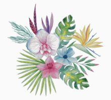 Tropical Watercolor Bouquet 3 One Piece - Short Sleeve