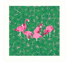 Flamingos on delicious monsters Art Print
