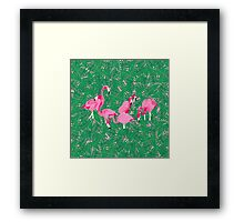 Flamingos on delicious monsters Framed Print