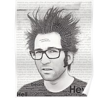 Typography Portrait of Justin Pierre (singer/guitarist) of Motion City Soundtrack Poster