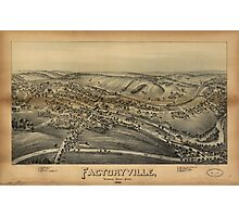 Vintage Pictorial Map of Factoryville PA (1891) Photographic Print