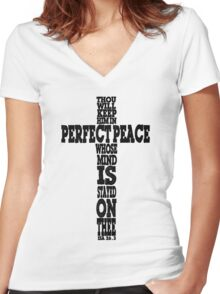 ISAIAH 6:23 - PERFECT PEACE - CROSS Women's Fitted V-Neck T-Shirt