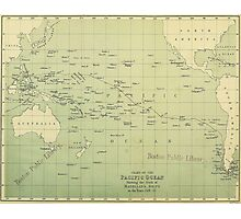Vintage Map of The Pacific Ocean (1874) Photographic Print