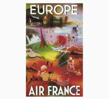 """AIR FRANCE"" Fly to Europe Advertising Print Kids Tee"