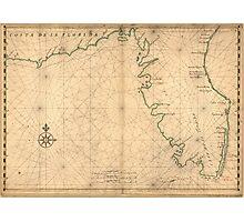 Vintage Map of Florida (1639) Photographic Print