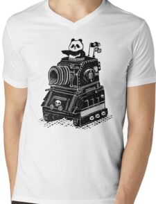 Panda's Skull Tank Vintage Style Mens V-Neck T-Shirt