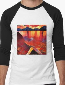 Abstract landscape in red Men's Baseball ¾ T-Shirt