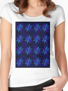 Blue Snowflake Girly Pattern Print Women's Fitted Scoop T-Shirt