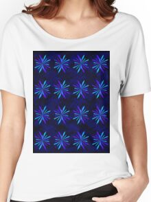 Blue Snowflake Girly Pattern Print Women's Relaxed Fit T-Shirt