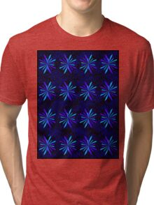 Blue Snowflake Girly Pattern Print Tri-blend T-Shirt
