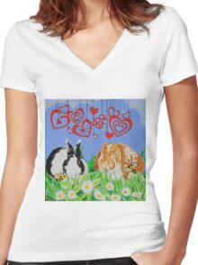 Bunny Anytime Valentines-Design Nine Women's Fitted V-Neck T-Shirt
