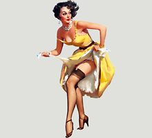 pin up girl yellow dress black panty hose high heels Unisex T-Shirt