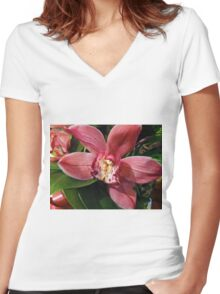 Orchids In Bloom Women's Fitted V-Neck T-Shirt