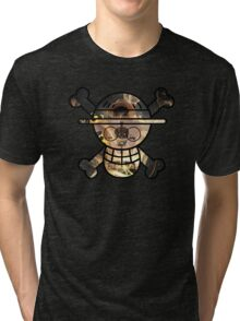 <ONE PIECE> Ace Skull Style Tri-blend T-Shirt