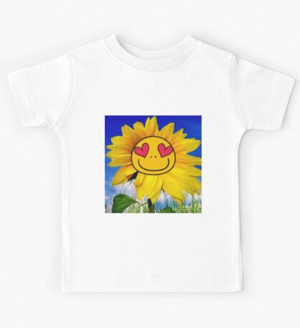 Fun,funny,Sun flower,sunny,kid,kids,smiley,smile,deep blue,yellow,red,green Kids Tee