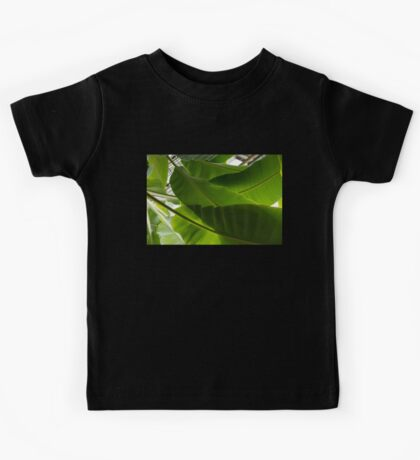 Luscious Tropical Greens - Huge Leaves Patterns - Horizontal View Upwards Right  Kids Tee