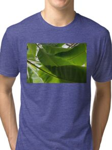Luscious Tropical Greens - Huge Leaves Patterns - Horizontal View Upwards Right  Tri-blend T-Shirt