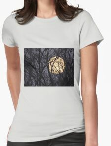 Full Yellow Moon Womens Fitted T-Shirt