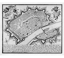 Vintage Map of Frankfurt Germany (1738) Photographic Print