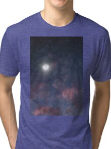 Glowing Moon on the night sky through pink clouds Tri-blend T-Shirt