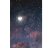 Glowing Moon on the night sky through pink clouds Photographic Print