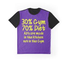 30 Percent Gym 70 Percent Diet Yellow Print Graphic T-Shirt