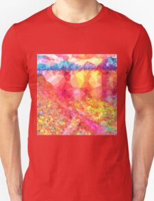 Colorful,polygonal,orange,red,blue,yellow,green,green,abstract art Unisex T-Shirt