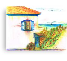 Hydra House Greek Island Canvas Print