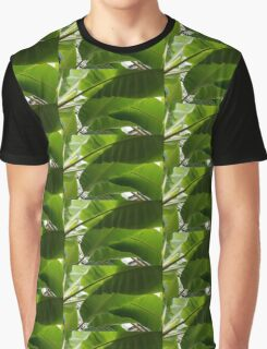 Luscious Tropical Greens - Huge Leaves Patterns - Horizontal View Downwards Right Graphic T-Shirt