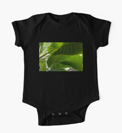 Luscious Tropical Greens - Huge Leaves Patterns - Horizontal View Downwards Right One Piece - Short Sleeve