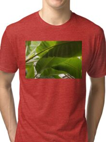 Luscious Tropical Greens - Huge Leaves Patterns - Horizontal View Downwards Right Tri-blend T-Shirt