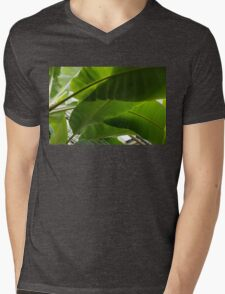 Luscious Tropical Greens - Huge Leaves Patterns - Horizontal View Downwards Right Mens V-Neck T-Shirt