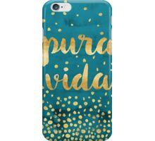 Pura Vida Gold Foil on Teal Painting iPhone Case/Skin