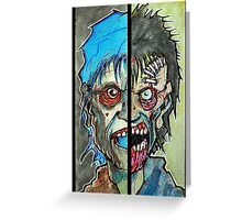 Two Half Zombie Greeting Card