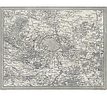 Vintage Map of Paris France Vicinity (1841) Photographic Print
