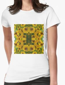 Golden Flowers and Bees Womens Fitted T-Shirt