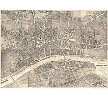 Vintage Map of Frankfurt Germany (1864) Photographic Print