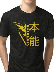 Team Instinct Pokemon GO! Kanto Badge Shirt Tri-blend T-Shirt
