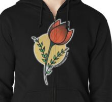 Red Tulips Zipped Hoodie
