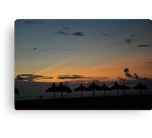 Beach chickees at sunset Canvas Print