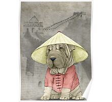 Shar Pei on The Great Wall Poster