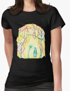 Glowing Flower Crystals Womens Fitted T-Shirt