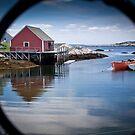 Peggy's Cove through a lobster pot by Harv Churchill