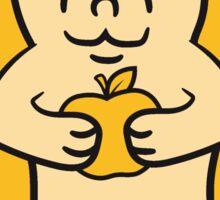 essen apfel halten lecker hunger comic cartoon stehender süßer kleiner niedlicher igel  Sticker